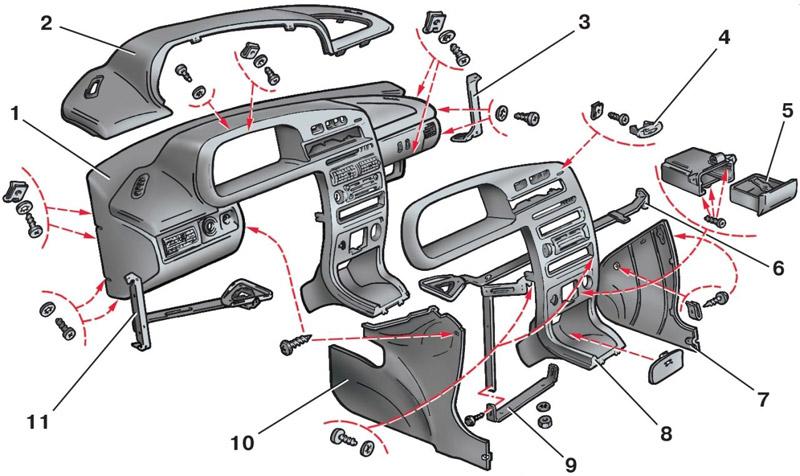 Устройство панели приборов ВАЗ 2114